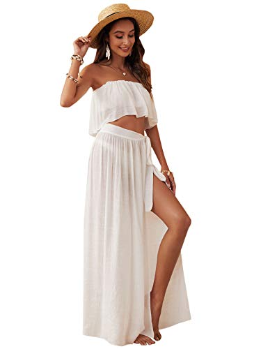SOLY HUX Women's 2 Piece Bandeau Top and Tie Side Beach Cover Up Skirt Set Swimwear White S