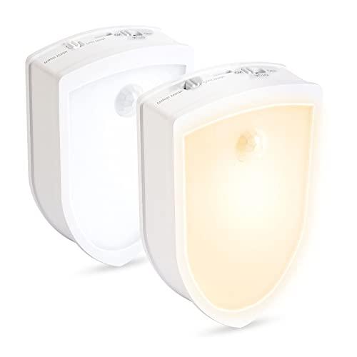 SOLIDEE 2 Stück LED Nachtlicht mit Bewegungsmelder Innen Warmweiß /Weiß Farbe Einstellbar und 3 Modi (Auto / ON / OFF) Schranklicht Für Kinderzimmer Schlafzimmer Badezimmer Flurleuchten