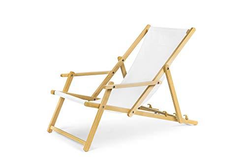 Chaise longue de jardin en bois, Transat, Chaise longue relax de plage, chaise longue avec accoudoirs. Weiß