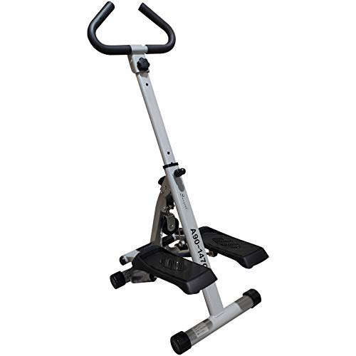 Soozier Adjustable Stepper Aerobic Ab Exercise Fitness Workout Machine with LCD Screen & Safety Handlebars, White