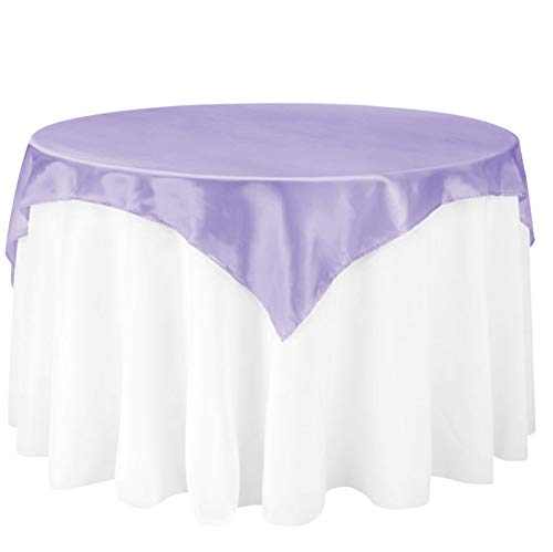 LinenTablecloth 60-Inch Square Satin Overlay Lavender