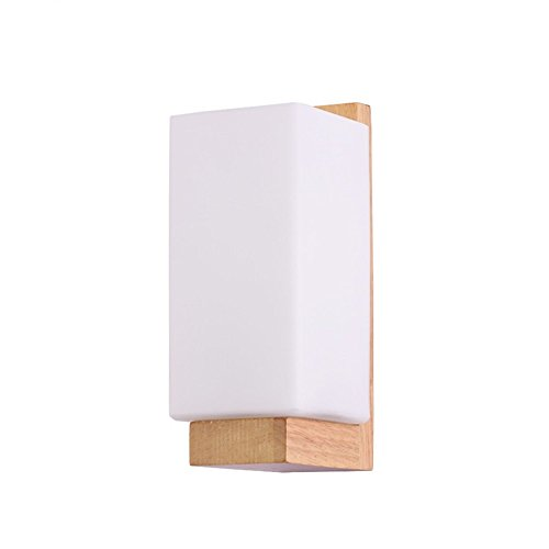 WEXLX Appliques en bois de style nordique lampe murale pour Chambre Salon 11 * 11 * 25cm