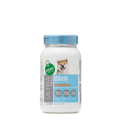 GNC Pets Ultra Mega Urinary Support Chewable Tablets Supplement for Dogs, 90 Count - Yummy Chicken Flavor | Made with Cranberry for Urinary Tract Health
