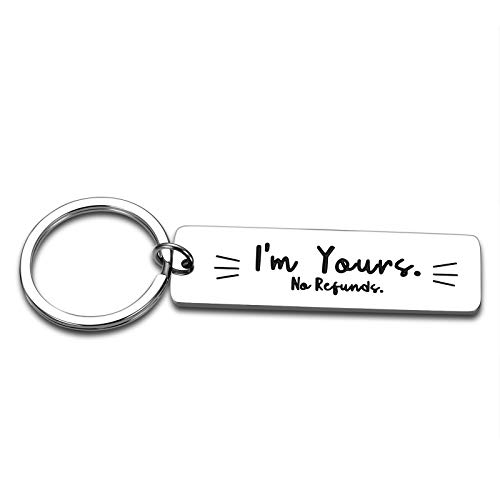 Couples Gifts for Boyfriend Funny Keychain for Men Husband Birthday Gifts from Wife Anniversary for Her Him Valentines Gifts for Couples Fiancé Fiancée Wedding Key Ring I'm Yours Jewelry