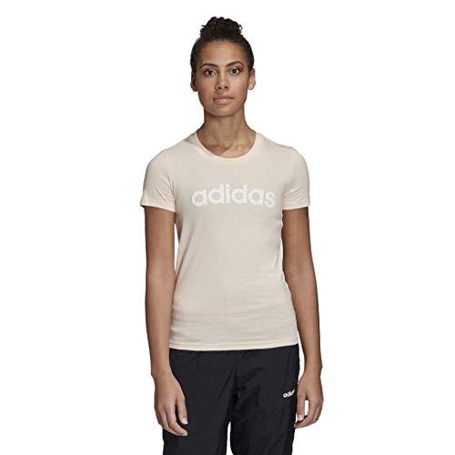 adidas Essentials Linear Slim Camiseta, Tinte Rosa/Blanco, L para Mujer