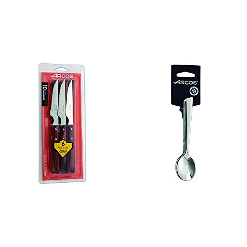 Arcos 372000 - Juego de cuchillos chuleteros, 110 mm (6pzas) + Toscana - Juego de cucharas de café, 140 mm, 6 piezas (6piezas)