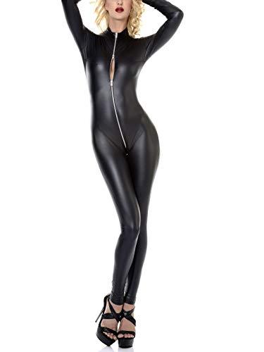 Patrice Catanzaro C03902 Wetlook Kunstleder Overall Wetlook Overall Sweety Catsuit Leder Anzug, Farbe:Schwarz, Größe:XS