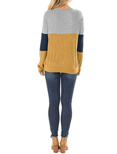 Fashion Shopping Topstype Women's Color Block Chest Cutout Long Sleeve T-Shirts Scoop Neck Blouse