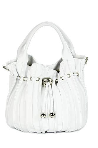 Belli 'Globe Bag ital. Nappaleder Shopper Handtasche Damentasche - Farbauswahl - 30x21x24 (B x H x T) (Weiß)