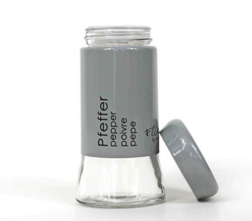 Flirt by R&B Pfeffer-Streuer aus Glas und Kunststoff 11cm ~ aus der hochwertigen Küchen-Serie Cantina ~ grau schwarz ~ Ritzenhoff Breker