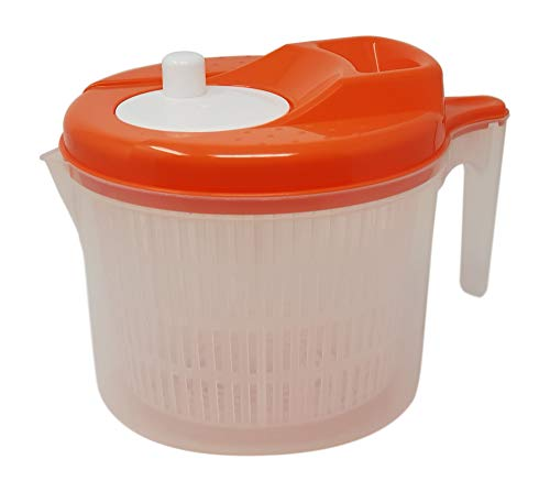 Tosend Centrifuga per Insalata asciuga Verdure insalatiera con Manico (Arancio, Litri 4,5)