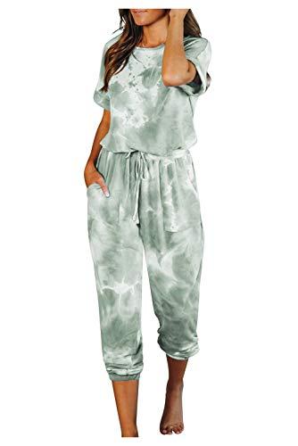 Conjunto Interior Mujer Deportivo Mono Tie Dye Camiseta y Leggings Niña Ropa de Dormir Arco Iris Pijama Manga Corta Pantalon Largo Chandal Una Pieza Traje de Casa Lenceria Camison Verano