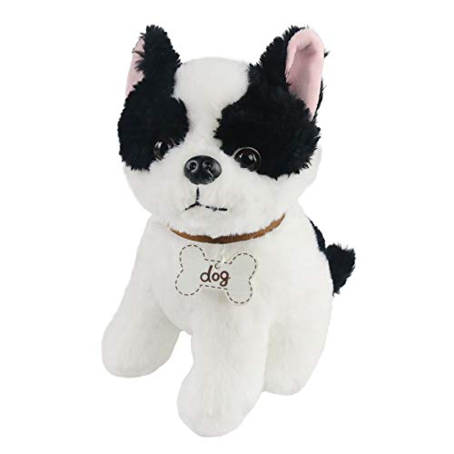 Houwsbaby Small French Bulldog Dog Stuffed Animal Sitting Puppy Soft Plush Toy Realistic Dog with Writable Nameplate Bone Tag Birthday Gift for Kids PetsBoys Girls, 9.5''