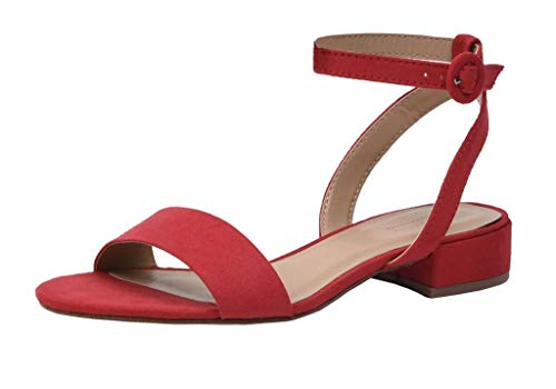 Cushionaire Women's Nila one band low block heel sandal, Nila Red 8.5 +Wide Widths Available