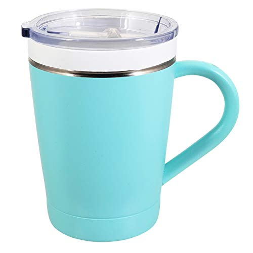 CeramiSteel Ultimate Insulated Coffee Mug with Handle (12 ounce), Ceramic Inner Coating over Stainless Steel, BPA Free Lid, Durable Turquoise Finish