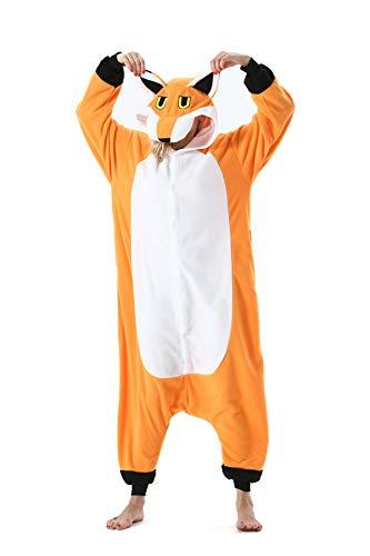 Erwachsene Jumpsuit Onesie Tier Karton Fasching Halloween Kostüm Sleepsuit Cosplay Overall Pyjama Schlafanzug, Neuer Fuchs, S