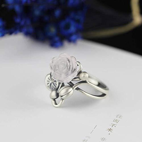 WOZUIMEI Ringschmuck im Chinesischen Stil S925 Ringschmuck aus Reinem Silber, Handgeschnitzter Ring aus Mattem KunsthandwerkRing