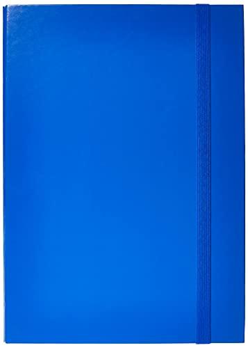 euro-cart IRIS Cartella Portaprogetti con Elastico Piatto, Dorso 5 cm, Blu