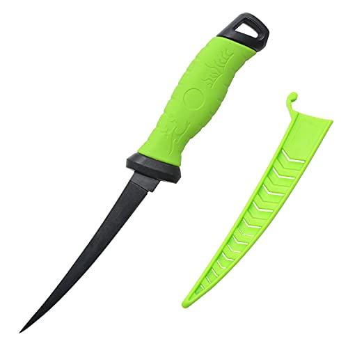 Entsport Outdoors Fillet Knife Professional Fishing Knives Non-Stick Coating Stainless Steel Blade Boning Knife with Sheath(7' Fillet Knife with Non-Slip Handle)