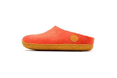 [ナウセニ] 手作りウールフェルト室内履きスリッパ Original Collection マウンテンコーラル(オレンジ) 25 cm