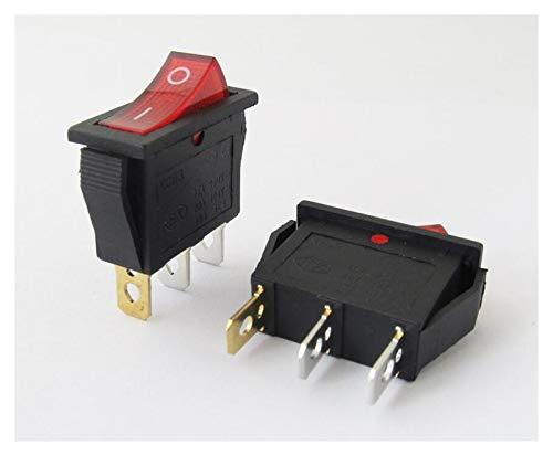 XINGYAO Interruptor Giratorio 5 unids/Lote KCD3 16A 250V / 20A 125V 3 Pin ON-Off Botón Rojo Rocker Switch Mocker Power Switch