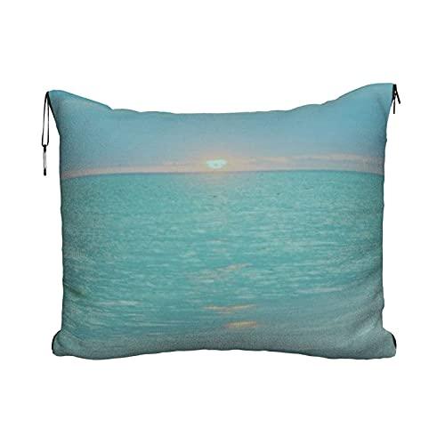 Manta de viaje portátil 2 en 1 para sofá de avión, almohada para coche, oficina, hogar, dormir, siestas, color verde azulado