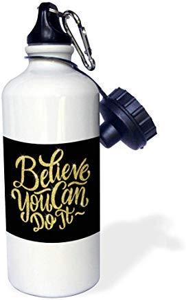 Anne Marie Baugh cita Believe You Can Do It cita en una imagen de oro brillante botella de agua de aluminio para deportes, senderismo, gimnasio, escuela, camping, botella de agua para hombres, mujeres, niños