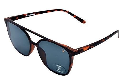 Gamswild Gafas de sol WM7328 GAMSSTYLE de moda para hombre y mujer con travesaño marrón y negro TR90