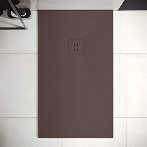 Plato de Ducha de Resina Mineral - Textura Pizarra,Antideslizante y Antibacteriano - Acabado Mate - Incluye Sifón y Rejilla (70x150 cm, Chocolate)