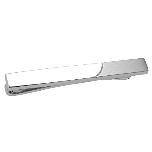 CUFF IT Herren Schick Krawattenklammer / Krawattennadel Glänzend und Matt Silber 5.2 cm mit Geschenkbox