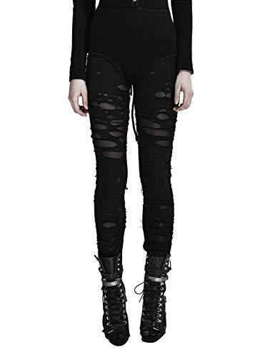 Punk Rave Damen Sexy Ripped Leggings Stretchy Gothic Pants Broken eng anliegende Mesh Leggings Schwarz M