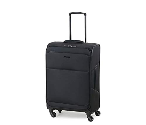 Rock Ever-lite 67cm Medium Softside Luggage Lightweight Four Wheel Suitcase Black