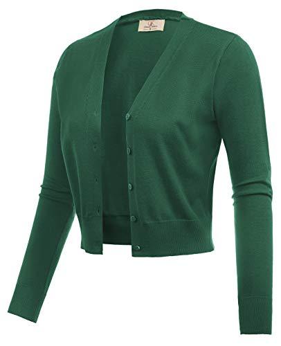 GRACE KARIN Lightweight Stretch Cropped Bolero Shrug Jacket Dark Green Size L CL2000-16