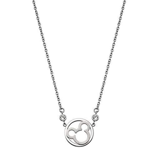 FashionEx Disney - Collar Oficial de Mickey Mouse de Acero Inoxidable para Mujer y niña con Cristales de Swarovski