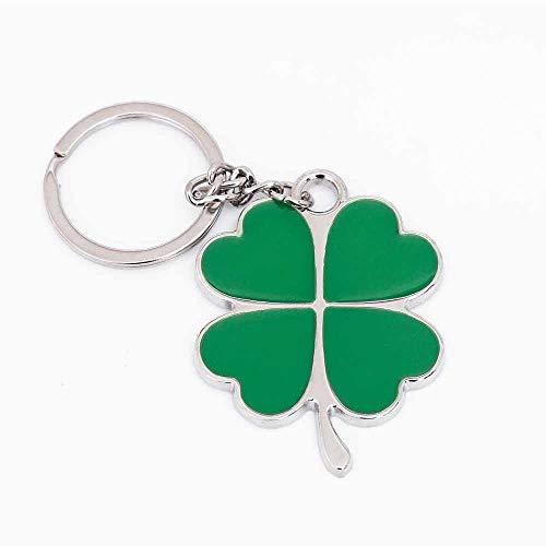 Bobvc sleutelhanger van roestvrij staal, hoogwaardig, groen blad, sleutelhanger mooi, klaverblad met vier bladen, geluksbrenger, sieraden