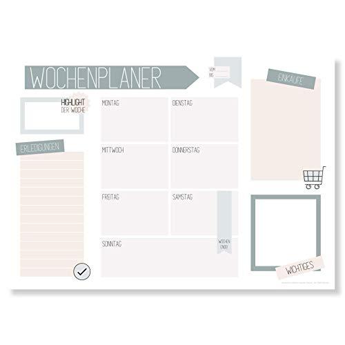 Wochenplaner Block A3 (25 Blatt) - Schreibtischunterlage mit To Do Liste - Wochen Planer aus Papier als Schreibtisch Unterlage - Weekly Planner Undatiert - Schreibunterlage mit Wochenplan - Clean