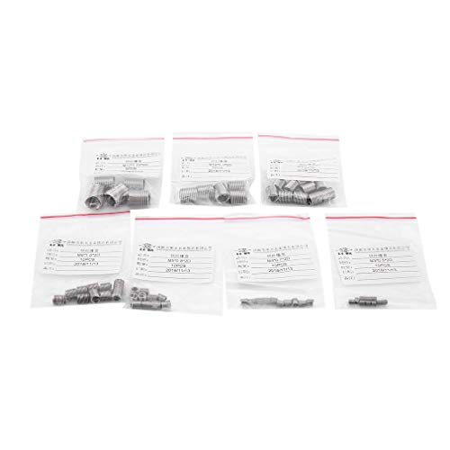 CandyTT Juego de Insertos de Rosca de 60 Piezas M3 / 4/5/6/8/10/12 Kit de Insertos de reparación de roscas para Herramientas de reparación de helicópteros de Alta Resistencia y dureza (Plata)
