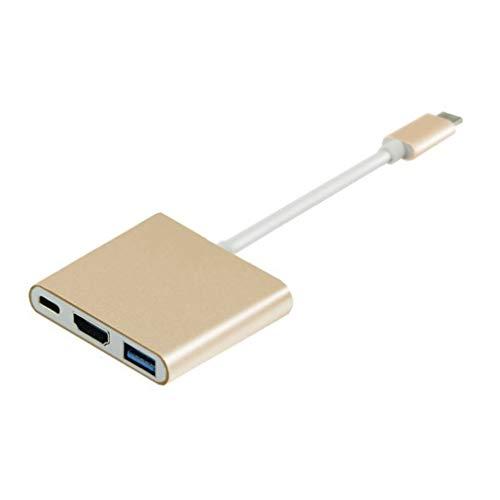 VHNBVHGKGHJ Tipo-c a HDMI Usb3.1 4k Cable Adaptador de Alta definición Adaptador 3 en 1 Dorado