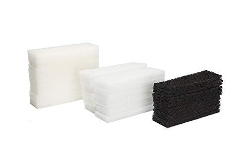 LTWHOME Compatible Filtres en Mousse, Filtre de Carbone et Filtres en Polyester Ensemble Convient pour Le Fluval U3 Filtre (Paquet de 36)