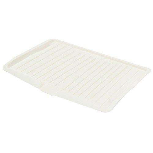 Plato de escurridor - SODIAL(R)Escurreplatos de plastico bandeja de goteo de estante de fregadero de cuchilleria de cocina grande y blanco