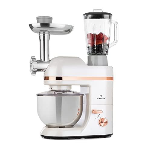 Klarstein Lucia Elegance - Robot de cocina, Robot cocina con potencia 1300 W, Robot cocina multifunción con 5 L de capacidad, 6 niveles, 3 accesorios de mezcla, Protector contra salpicaduras, Blanco