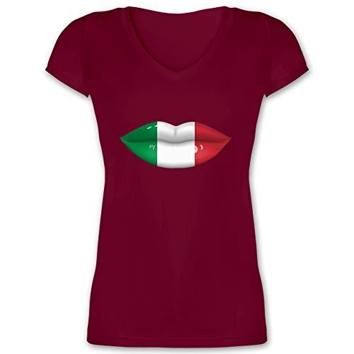 Länder - Lippen Bodypaint Italien - XL - Bordeauxrot - patriotisch - XO1525 - Damen T-Shirt mit...