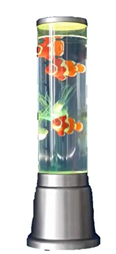 Wassersäulen Lampe, Wasserlampe, Dekolampe mit 3 x Clownsfischen, 3 Quallen und Netzteil. Farbspiel.