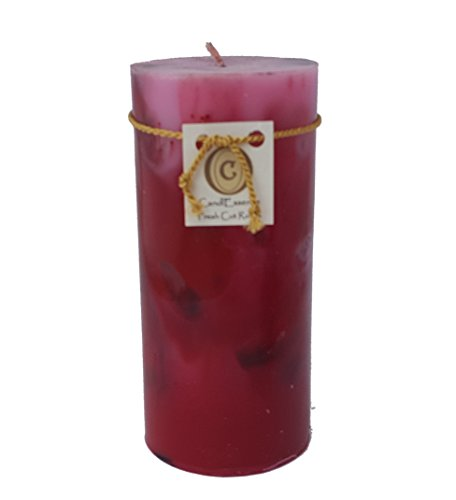 Handmade Scented Candle - Long Burning Pillar - Fresh Cut Roses Scent (Medium)