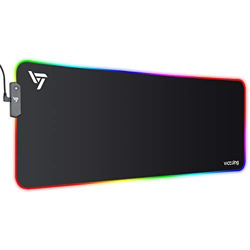 VicTsing Tappetino Mouse Gaming XXL, RGB Tappetino per Mouse e PC800 x 300 x 4mm, 12 RGB Effetti Luce, USB Tappetino per Mouse da Gioco, Gomma Antiscivolo Impermeabile, Bordi Cuciti per PC, Laptop