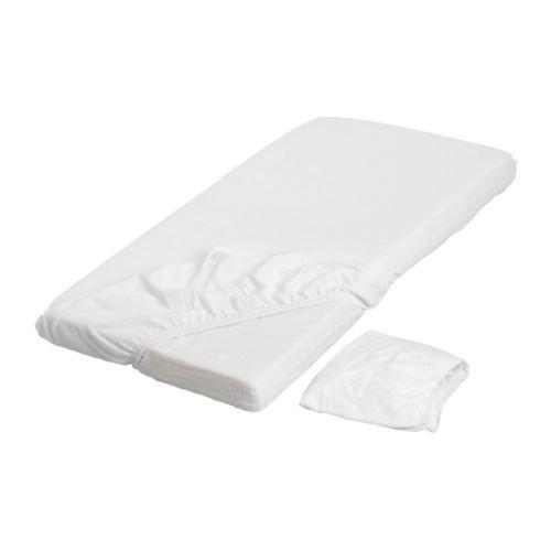 IKEA LEN -Spannbettlaken für Kinderbett weiß / 2 Stück - 60x120 cm