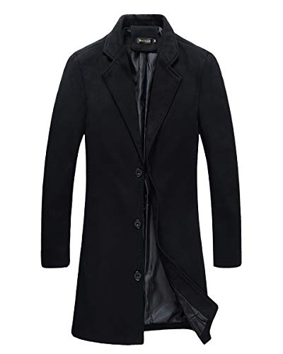 Beninos Mens Trench Coat Slim Fit Notched Collar Overcoat (M, F20 Black)