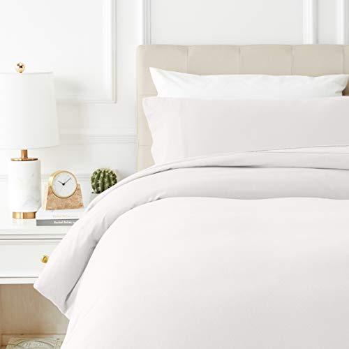 Amazon Basics - Bettwäsche-Set, Fein-Biber, 135 x 200 cm, weiß