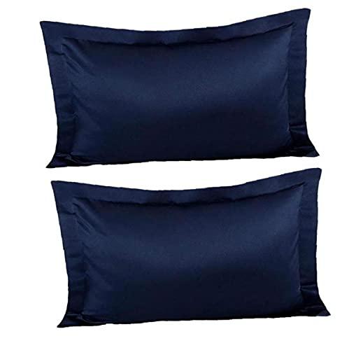 NIDONE Casos Cuidado de la Piel Sensación de la Funda de Almohada de satén de Seda Anti Arrugas de Almohada Cubierta de Pelo 1Pair Azul Marino