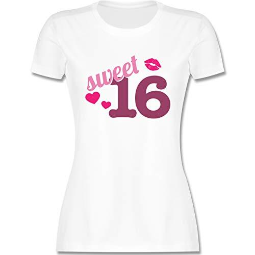 Geburtstagsgeschenk Geburtstag - Sweet 16 - M - Weiß - Geschenke zum 16 Geburtstag mädchen - L191 - Tailliertes Tshirt für Damen und Frauen T-Shirt
